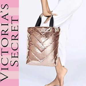NWT VICTORIA'S SECRET PINK ROSE GOLD QUILTED TOTE